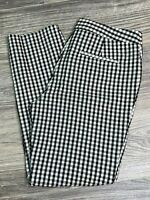 TALBOTS FACTORY Women's Black and White Gingham Seer Sucker Cropped Pants Size 4