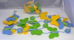2 x Deko-Girlande Filz Schmetterlinge Blumen Perlen gelb/blau/grün 1,6 m  NEU