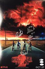Stranger Things Cast Autograph 12x18 Photo Noah Millie Finn Gaten Signed COA