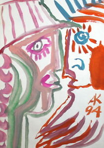 1994 ABSTRACT ART WOMAN MALE FACE PORTRAIT WATERCOLOR PAINTING, SIGNED