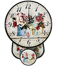 """BRAND NWT """"Shabby Chic"""" Decor Style Round Floral Wall Clock with Pendulum 8""""H"""
