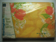 "FULL DOUBLE FLAT SHEET ""Petal Bouquet"" Yellow with Orange Tulips - 50Poly/50%Cot"