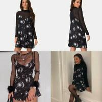 Woman Sleeveless dress Sun Moon Stars Printed V Neck Button dress HOT dress