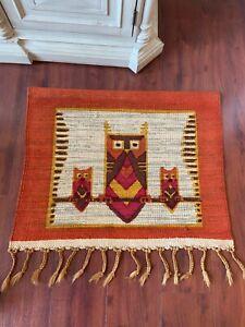 Vintage boho  owl  woven tapestry wall hanging fringe  southwest