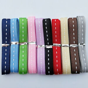 """20Yards 3/8"""" (10mm) Grosgrain Ribbon With Center White Line 10 Colors Assorted"""