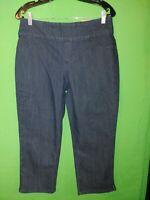 1609) NWT CHICO'S 0 elastic waist denim jeans stretch Nicky Slim Capri new 0