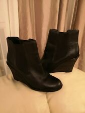 Chelsea Bertie Black Leather Wedge Ankle Boots 5UK EU 38 Great