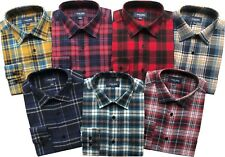 Mens Long Sleeve Flannel Lumberjack Check Causal Shirt Brushed 100%Cotton M-5XL