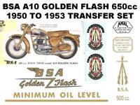 BSA A10 Golden Flash 650cc 1950 to 1953 Transfers Set Decals Motorcycle DBSA30