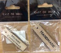 East of India Gift Wood Tags x2 wooden Handmade / Christmas embellishment labels