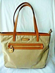 Michael Kors Shoulder Bag Tote Brown Nylon and Leather Trim MK GOLD Pendant Tag