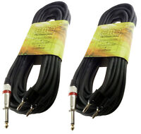 2 PACK EMB PRO AUDIO 1/4 TO DUAL banana 50 FT foot PA DJ SPEAKER CABLE WIRE