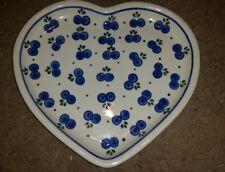 Polish pottery heart platter Boleslawiec. Blueberry pattern  MINT CONDITION
