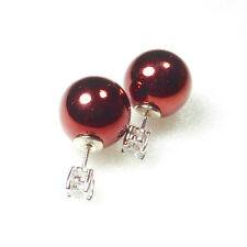 White Gold Plated Dark Red Christmas Ball CZ Studs Party 2 Way Stud Earrings