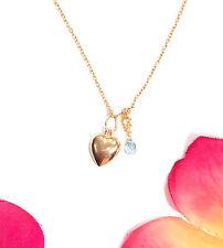 gold heart charm blue sapphire briolette solid 14k puffy hollow gemstone pendant