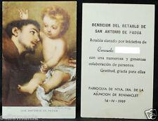 OLD BLESSED SAINT ANTHONY OF PADUA HOLY CARD 1989 ANDACHTSBILD SANTINI     CC904