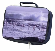 More details for pink flamingo on sea shore navy insulated school lunch box bag, ab-52lbn