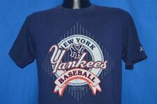 vintage 90s NEW YORK YANKEES STARTER 1991 MLB DARK BLUE t-shirt BASEBALL LARGE L