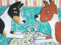 BASENJI Drinking a Martini Art Print 8x10 Dog Collectible Signed by Artist KSams