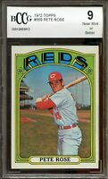 1972 Topps #559 Pete Rose Card BGS BCCG 9 Near Mint+