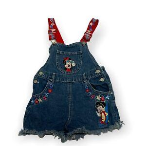 VTG 90s Mickey For Kids Hawaiian Theme Overalls Shorts Disney Mickey Minnie Sz 4