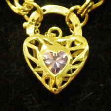New 9K Yellow Gold Filled & Amethyst Crystal Filigree Heart Pendant Necklace