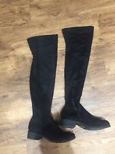 Black Suede over knee boots, Size 6 ASOS