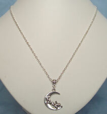 "Cute Cherub Angel on the Moon Pendant 20"" S/P Chain Necklace in Gift Bag"