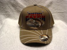 BASS FISH PERFECT CATCH FISHERMAN OUTDOOR BASEBALL CAP HAT ( BEIGE )