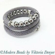 Fatto a mano Triple Bracciale Bangle con perle Swarovski