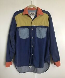 Vintage Mens REPLAY Colorblock Button Shirt Size Small