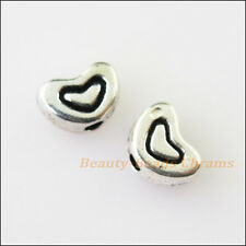 25Pcs Antiqued Silver Tone Tiny Heart Spacer Beads Charms 4.5x6.5mm
