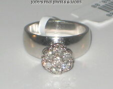 SPECTACULAR ESTATE 14K WHITE GOLD ROUND FLORAL DIAMOND RING .35 CARATS Size 5.75