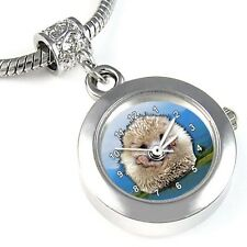 Hedgehog Animal Silver Quartz Watch European Bracelet Spacer Charm Bead EBA35