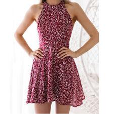Women Vintage Floral Halter Neck Swing Skater Party Ladies Retro Dress Size 6-16