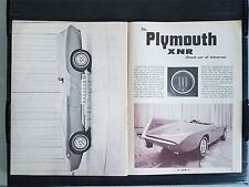 Vintage 1961 Plymouth XNR Car of Tomorrow  3-Page Article - Free Shipping