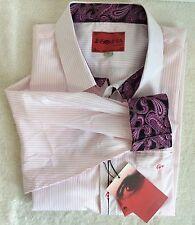 Insomnia Pink Stripe 4X Mens Long Sleeve Paisley Flip Cuff Dress Shirt New w/Tag