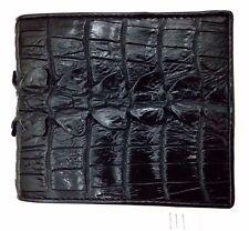 100% Vera Pelle Di Coccodrillo Coda in Pelle Bifold Portafoglio Uomo Nero