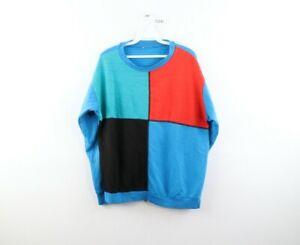 Vintage 90s Streetwear Mens Small Distressed Color Block Crewneck Sweatshirt
