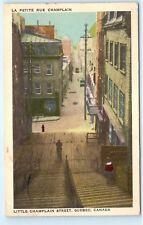 1950s La Petite Rue Champlain Little Champlain Street Quebec Canada Postcard C72