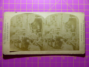Antique Stereoscope Photograph 'The Quilting Bee' Universal Stereoscopic View Co
