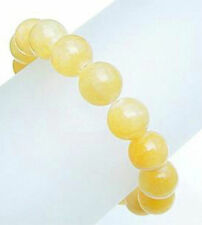 Genuine yellow Aragonite bead stretch bracelet -12mm BRL990001