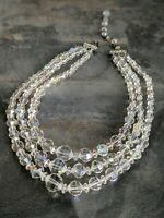 """Quality Crystal Prism Graduated Plastic Beaded Necklace 15-18"""" Adjustable"""
