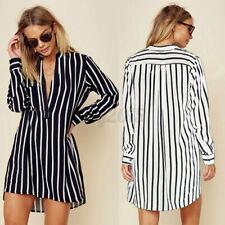 US STOCK Women Striped Long Sleeve Mini Shirt Dress Casual V Neck T-Shirt Dress