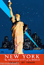 New York City Statue of Liberty by Train U.S. Travel Advertisement Art Poster