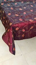 "Burgundy Taffeta 54x54""Embroidery in red and gold,gold trim, free swatches"