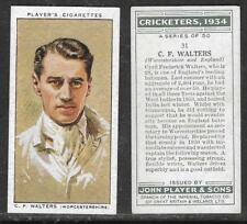 PLAYER'S 1934 CRICKETERS C.F.WALTERS Card No 31 of 50 CRICKET CIGARETTE CARD