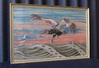 Vintage  Embroidery Long Stitch Eagle Framed Glazed Needlework Art