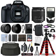 Canon EOS 3000D / T100 SLR Camera w/ 18-55mm+ 16GB 3 Lens Ultimate Accessory Kit