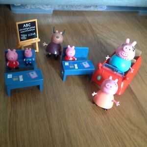 Peppa pig family with car and school playset